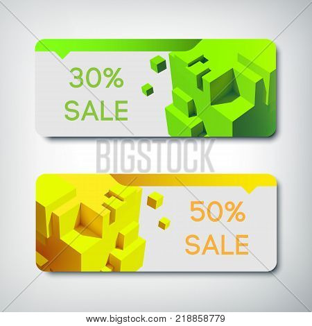 Sale banners set with images of cubes and rebate and concrete discounts percentage on the green and yellow horizontal papers vector illustration