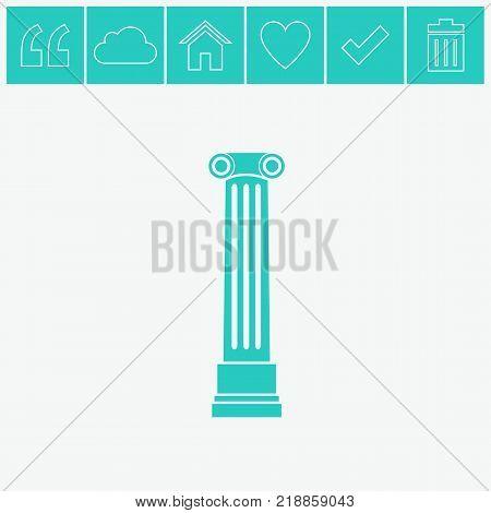 Antique column pillar vector icon. Ancient column icon.