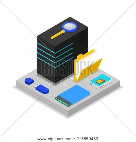 Data centre isometric 3D icon with computer server, usb drive, magnifier, external hard drive and folder elements. Cloud database, computer technology, data security vector illustration.