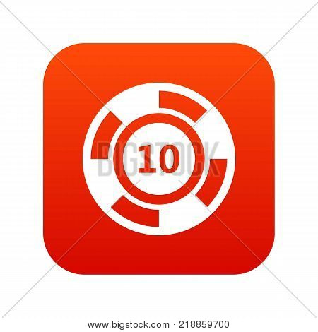 Casino chip icon digital red for any design isolated on white vector illustration