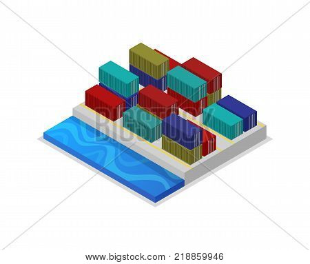 Freight containers in port isometric 3D icon. Worldwide delivery service, freight sea shipping vector illustration isolated on white background.