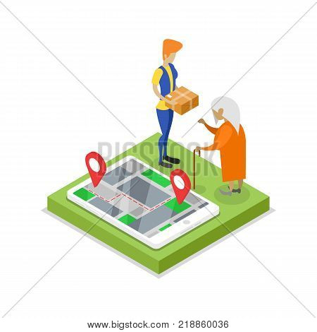Delivery logistics concept with courier isometric 3D icon. Freight shipping, route logistics, delivery transportation vector illustration.