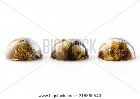 Colored Handmade Chocolate Bonbons On White Background