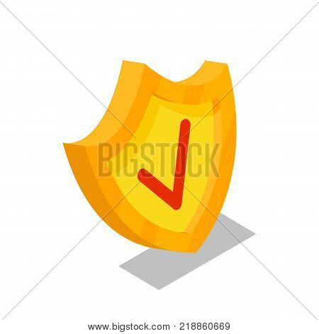 Golden shield isometric 3D icon. Security system symbol, payment safety, financial data protection, antivirus software vector illustration