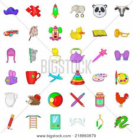 Childcare icons set. Cartoon style of 36 childcare vector icons for web isolated on white background
