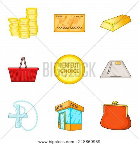 Coin icons set. Cartoon set of 9 coin vector icons for web isolated on white background