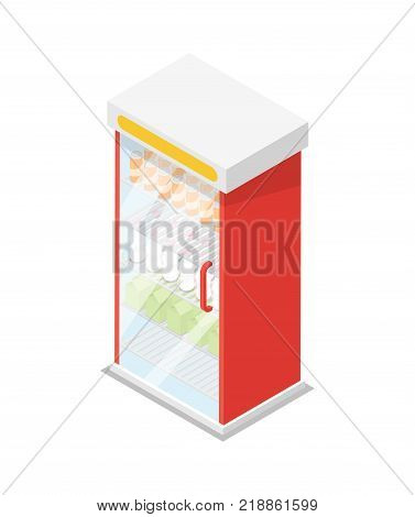 Showcase refrigerator for food and drinks isometric 3D icon. Supermarket fridge dispenser, cooling machine isolated vector illustration.