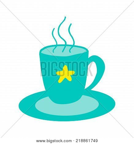 Hot cup of tasty tea with star stands on saucer isolated cartoon flat vector illustration on white background. Drink that bring Christmas mood.