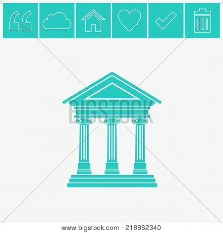 Portico an ancient temple. Bank. Official Place with the building facade with three pillars. Vector illustration.