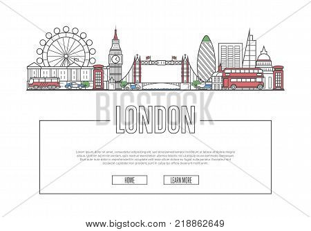 Travel London vector composition with famous architectural landmarks in linear style. Worldwide traveling and time to travel concept. London national attractions on white background, global tourism.