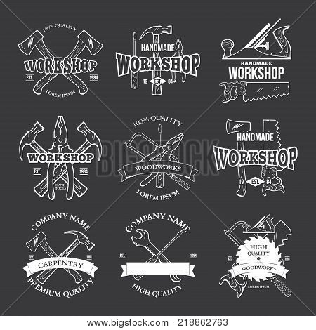 Vintage carpentry tools, labels and design elements vector illustration