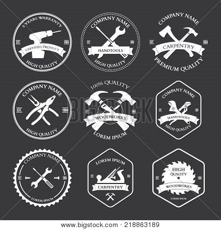 Vintage carpentry tools labels and design elements Vector illustration