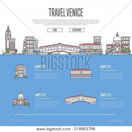 Venice city travel vacation guide with most important architectural attractions in trendy linear style. Venetian skyline with national famous landmarks. Worldwide traveling and journey vector concept