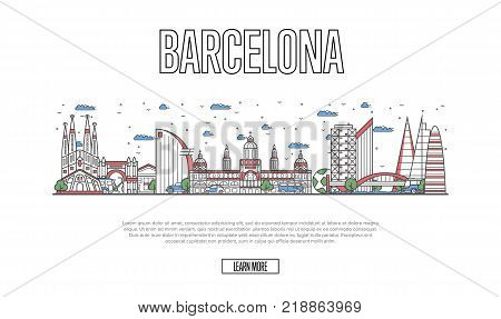 Travel Barcelona poster with architectural attractions in linear style. Worldwide traveling and time to travel concept. Barcelona skyline with historic landmarks, spanish tourism vector background