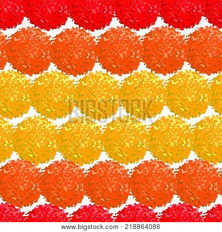 Vector seamless pattern with small furry flowers or pompoms in bright color can be used for web print wallpaper spring summer fashion fabric textile card background.