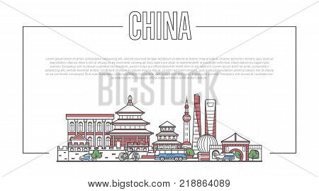 China landmark panorama with famous modern and ancient architecture in trendy linear style. Chinese national landmarks on white background. Worldwide traveling, asian journey vector concept.
