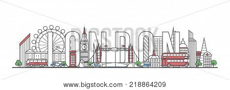 London travel lettering with famous architectural monuments in linear style. Worldwide traveling and time to travel concept. London city landmarks, global tourism and journey vector background.