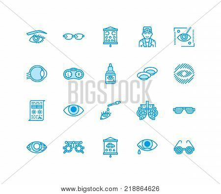 Ophthalmology, eyes health care line icons. Optometry equipment, contact lenses, glasses, blindness. Vision correction thin linear signs for oculist clinic. Pixel perfect 64x64.