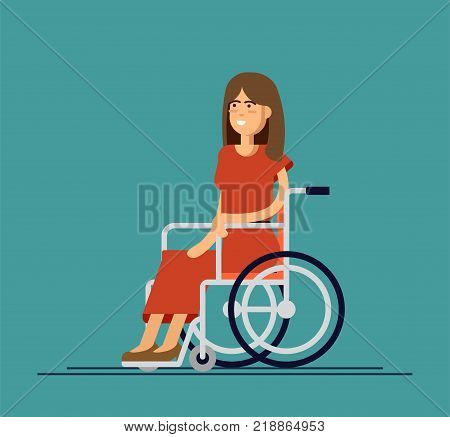 Young beautiful woman sitting in wheelchair, cartoon vector flat illustration. Happy woman sitting in wheelchair, living with disability, equal opportunities concept