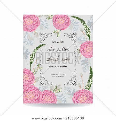Save the date card with camellias, dusty miller, snapdragon and silver brunia. Vintage vector illustration
