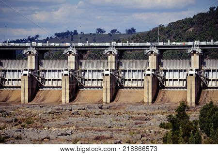 Close up of radial Spillway gates of Wyangala Dam in the Lachlan River Valley, central west region, of New South Wales, Australia