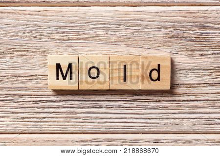 Mold word written on wood block. Mold text on table concept.