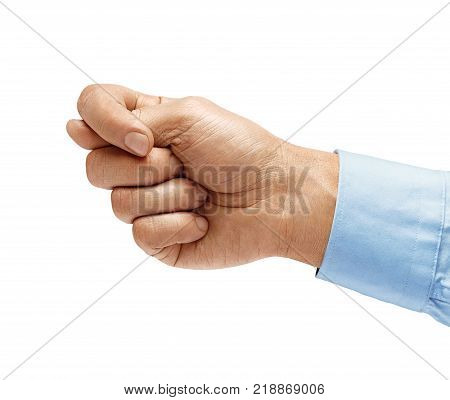 Men's hand in shirt showing the fig isolated on white background negative concept. High resolution product. Close up
