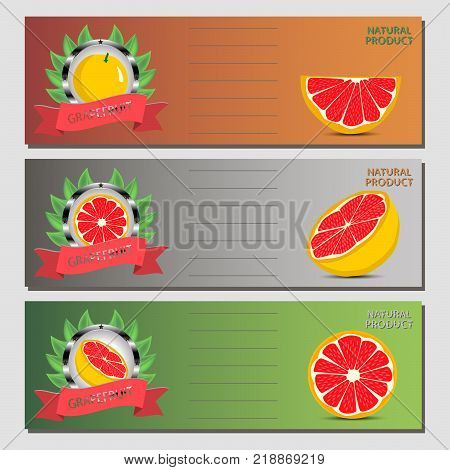 Abstract vector icon illustration logo for citrus fruit grapefruit slice half. Grapefruit pattern consisting of card label natural citruses food. Eat sweet fresh Citrus fruits grapefruits on health.