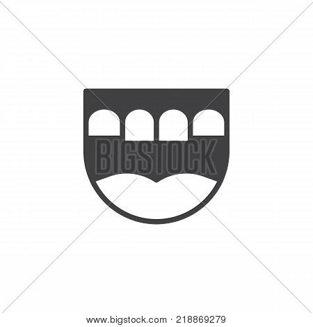 Dental jaw icon vector, filled flat sign, solid pictogram isolated on white.  Prosthesis teeth symbol, logo illustration.