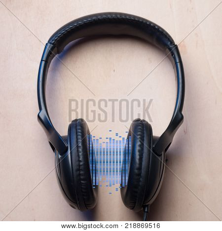 Headphones and equalizer. device for audio playback, digital stream