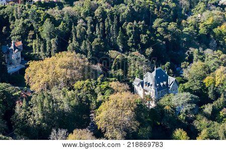 Aerial view on Chalet Biester. Sintra. Porugal