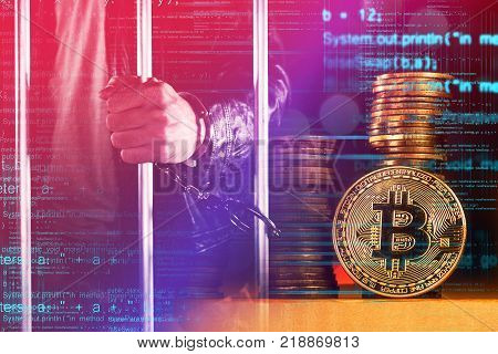 Handcuffed arrested Bitcoin thief in jail conceptual image