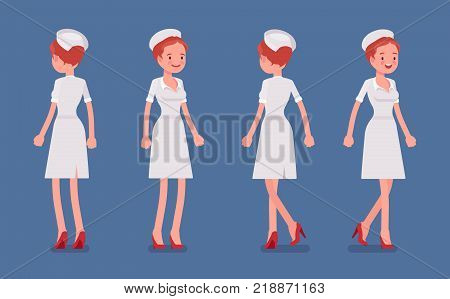 Sexy nurse standing and walking. Attractive elegant woman in retro hospital outfit at her duty in clinic, front, rear view. Medicine and healthcare concept. Vector flat style cartoon illustration