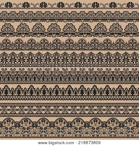 Horizontally seamless black lace background with lace ribbons