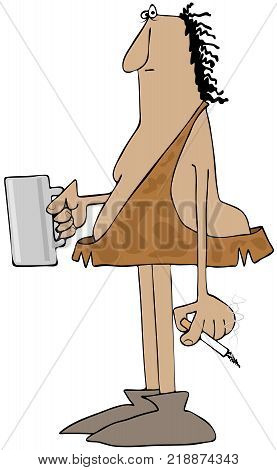 Illustration depicts a caveman holding a cigarette in one hand and a beverage mug in the other.