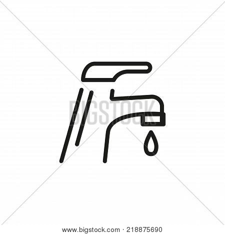 Line icon of dripping faucet. Water savings, water pipe, tap. Water concept. Can be used for topics like plumbing, environment, sanitary ware