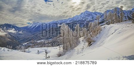 Winter mountain landscape. «Rosa Khutor», near Sochi, Russia
