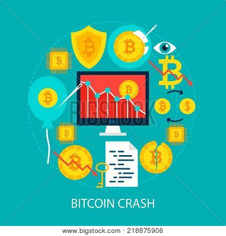 Bitcoin Crash Flat Concept. Poster Design Vector Illustration. Set of Cryptocurrency Objects.