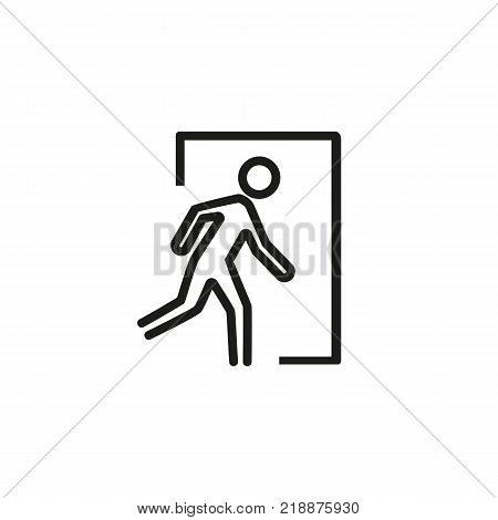 Icon of emergency exit. Man running, escape, doorway. Warning concept. Can be used for topics like evacuation, safety, urgency