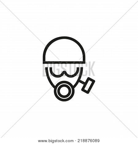 Line icon of face in gas mask and helmet. Protective workwear, chemical protection, firefighter uniform. Protection concept. Can be used for topics like fire safety, environmental disaster, terrorism