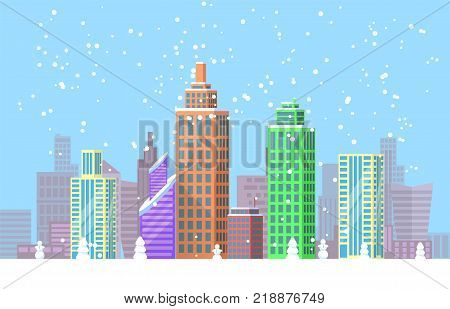 Snowy cityscape bright poster with office buildings and skyscrapers covered with snow. Vector illustration with picturesque wintertime metropolis view