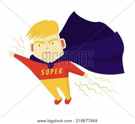 Cute Boy Blondes Super hero purposefully move the target. He flies his hand forward. Vector illustration
