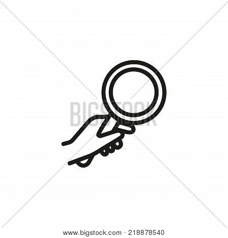 Line icon of human hand holding magnifying glass. Exploration, search, investigation. Gesture concept. Can be used for web design, mobile icons and pictograms