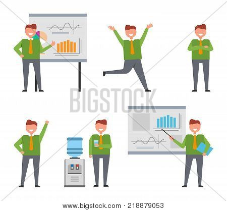 Cheerful businessman busy at work set of icons on white background. Isolated vector illustration of neatly-dressed male giving presentation and posing