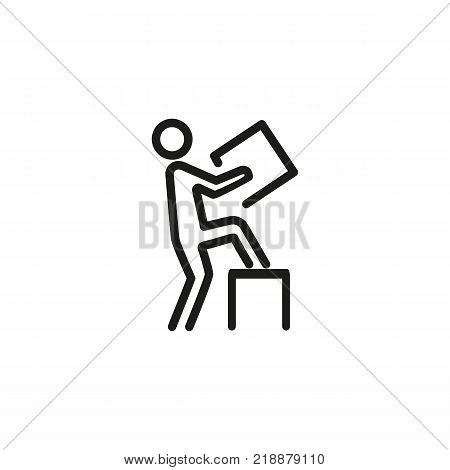 Line icon of man carrying box. Delivery man, postman, porter. Delivery concept. Can be used for topics like service, postal service, conveyance