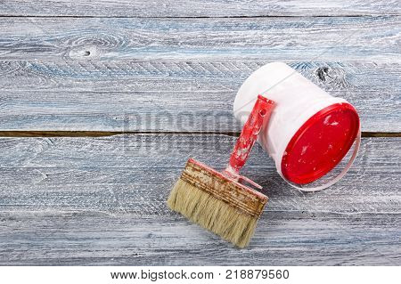 professional repairing implements for decorating and building renovation set in the wooden background. Top view