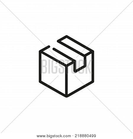Line icon of package. Cardboard box, parcel, cargo. Delivery concept. Can be used for topics like marketing, post service, logistics