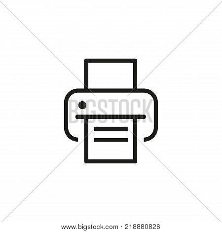 Icon of printer with paper. Fax, machine, information. Technology concept. Can be used for topics like device, computing, workplace