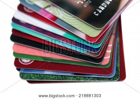 Selective focus Stack of credit card and debit card on white background.financial background concept. isolated