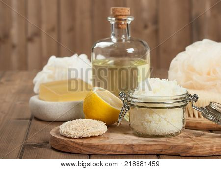 Handmade Lemon Scrub With Coconut Oil. Toiletries, Spa Set